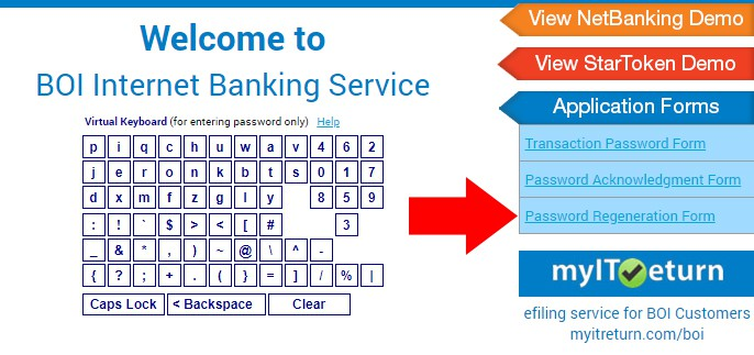 BOI Corporate Net banking Reset Password