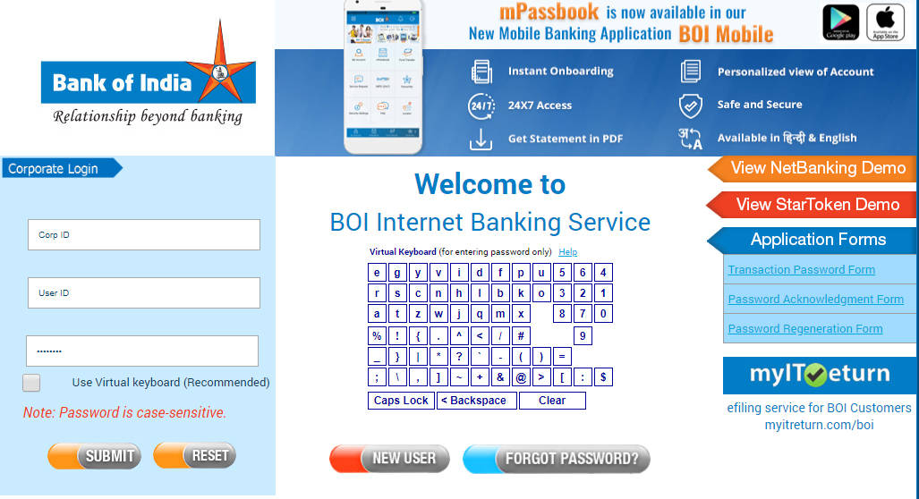 BOI Corporate Net Banking Login