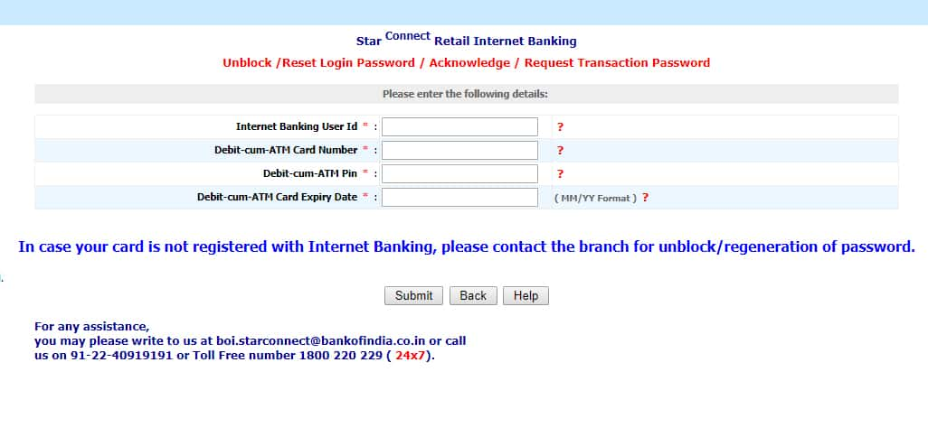 BOI Net Banking Forget Password