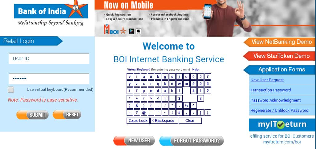 BOI Retail Net Banking Login