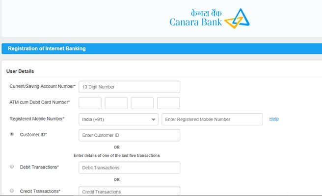 Canara Bank Net Banking Online Register