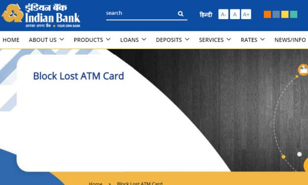 Indian Bank Block or Unblock Debit Card or Credit Card