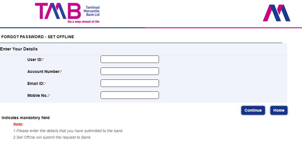 TMB Net Banking Forget Password Offline