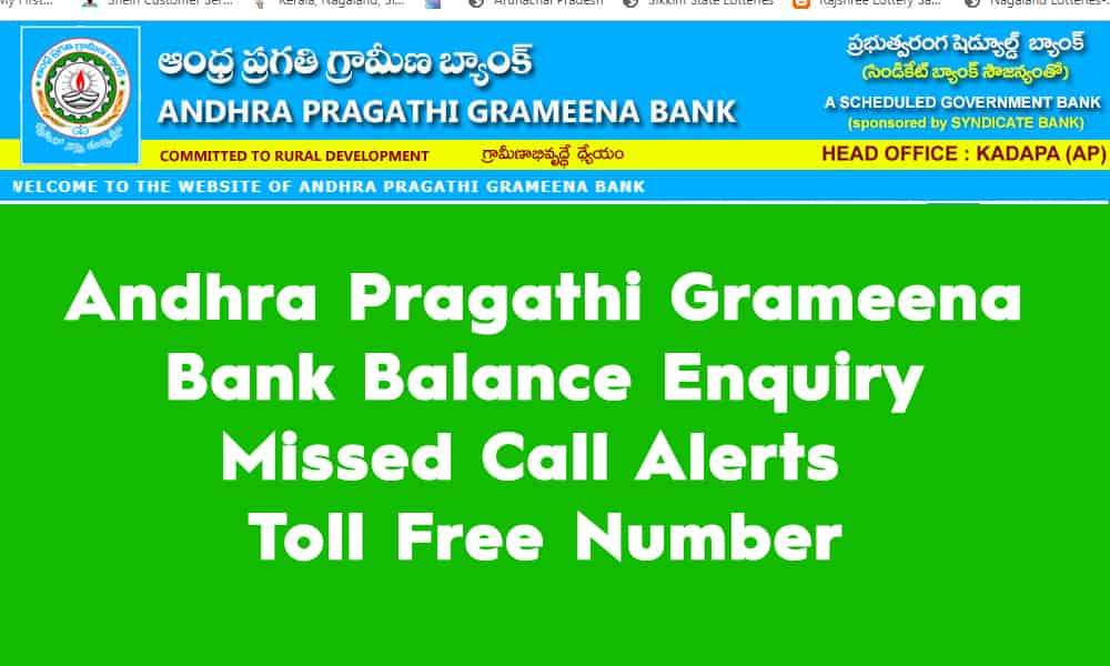 Andhra Pragathi Grameena Bank Balance Enquiry – Missed Call Alerts – Toll Free Number