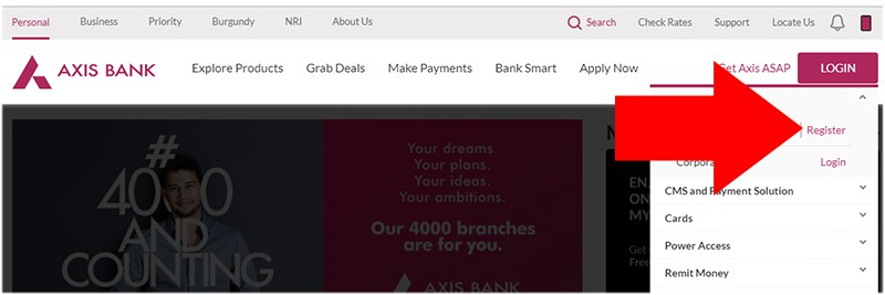 Axis Bank Net Banking Register Online