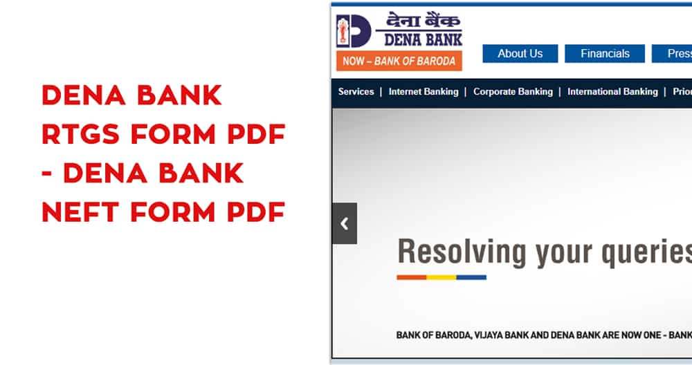 Dena Bank RTGS Form PDF – Dena Bank NEFT Form PDF