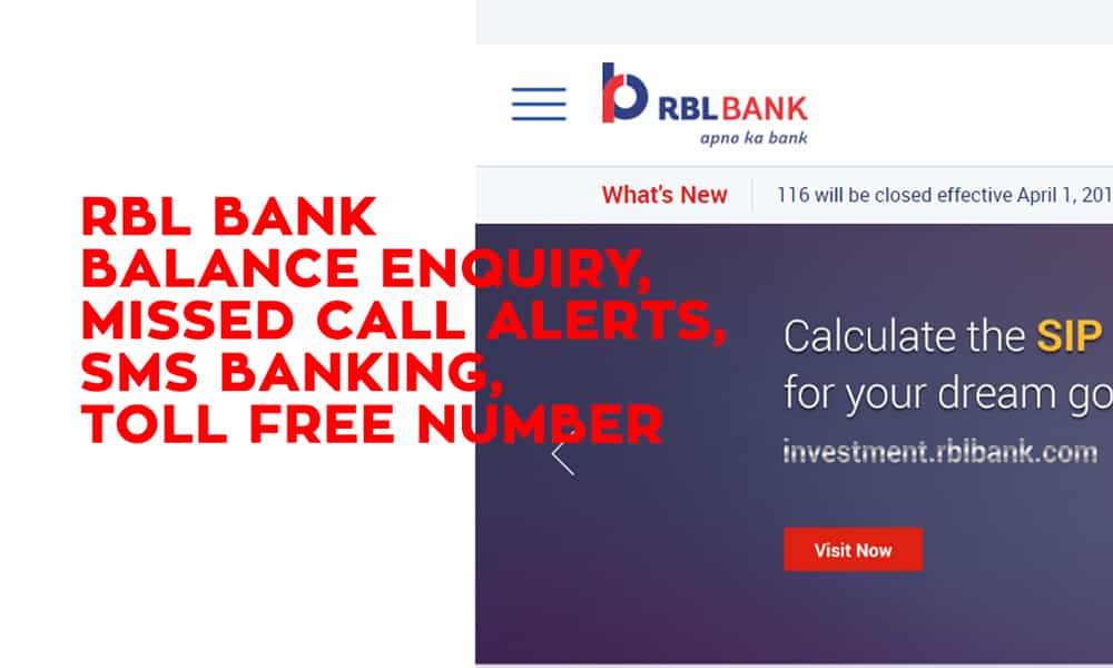 RBL Bank Balance Enquiry, Missed Call Alerts, SMS Banking, and Toll Free Number