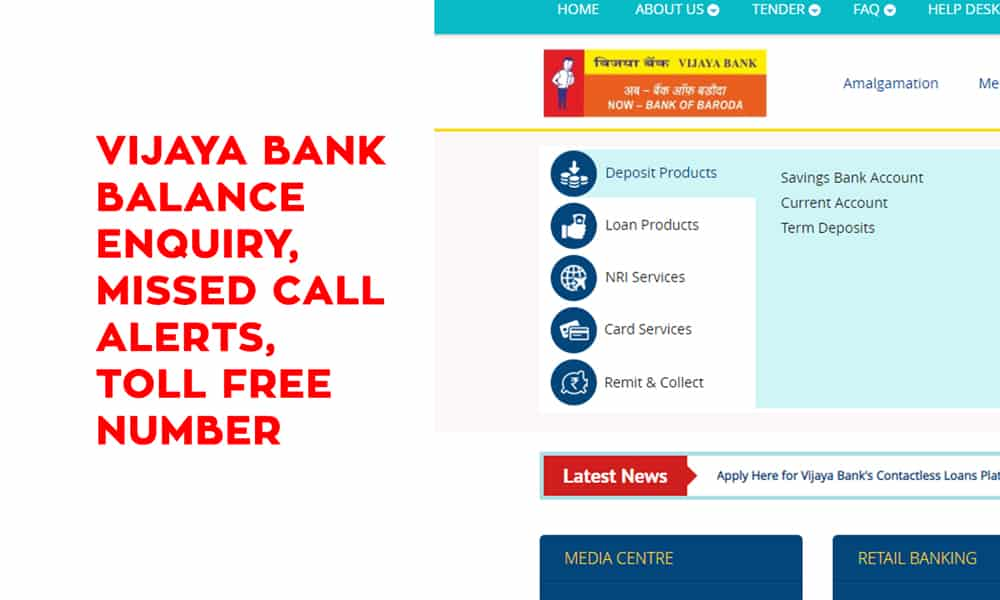 Vijaya Bank Balance Enquiry – Missed Call Alerts – Toll Free Number