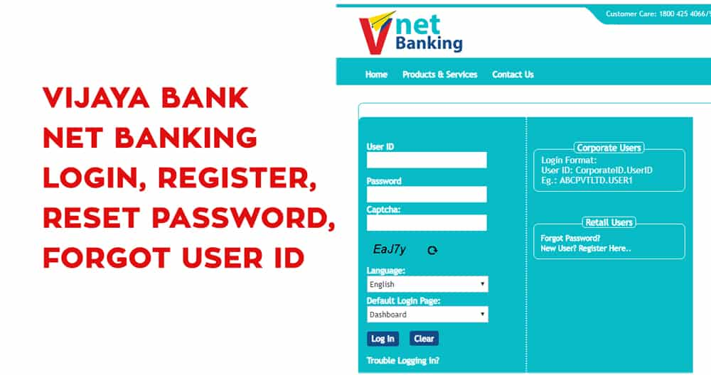 Vijaya Bank Net Banking Login, Register, Reset Password, Forgot User ID