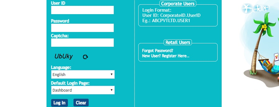 Vijaya Bank Net Banking Login Screen