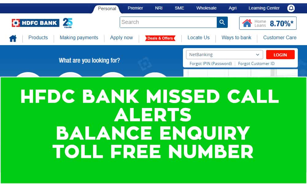 HDFC Bank Missed Call Alerts, Bank Balance Enquiry, and Toll Free Number