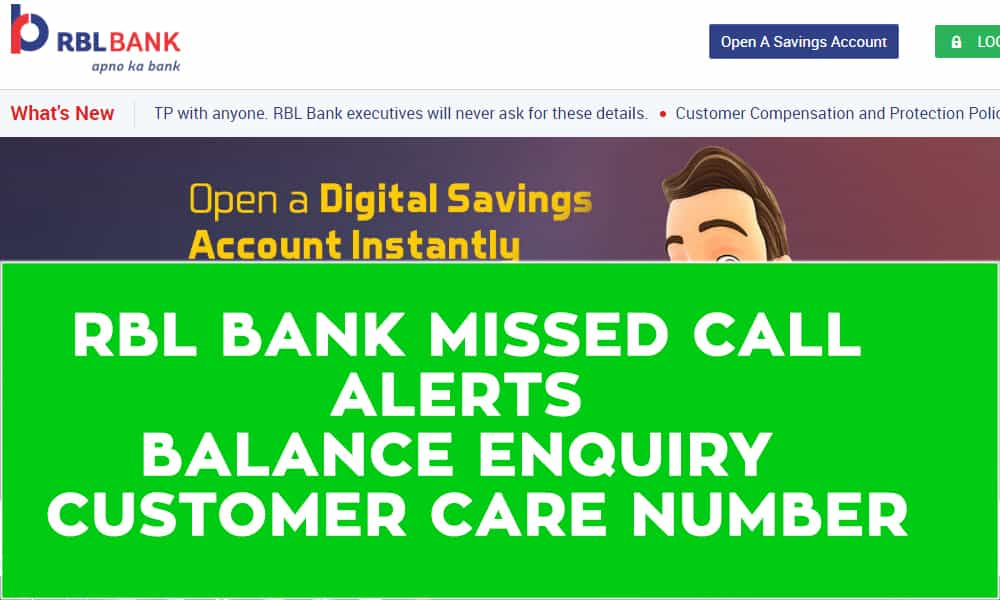 RBL Bank Missed Call Alerts – Balance Enquiry  – Customer Care Number