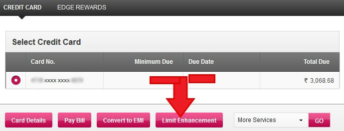Axis Bank increase Credit Card Limit Online