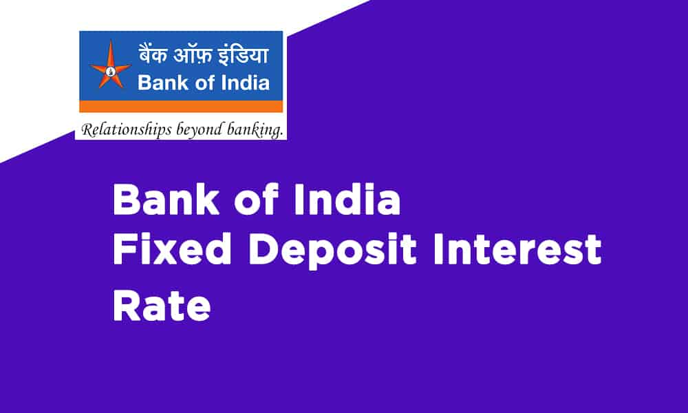 Bank of India Fixed Deposit Interest Rate