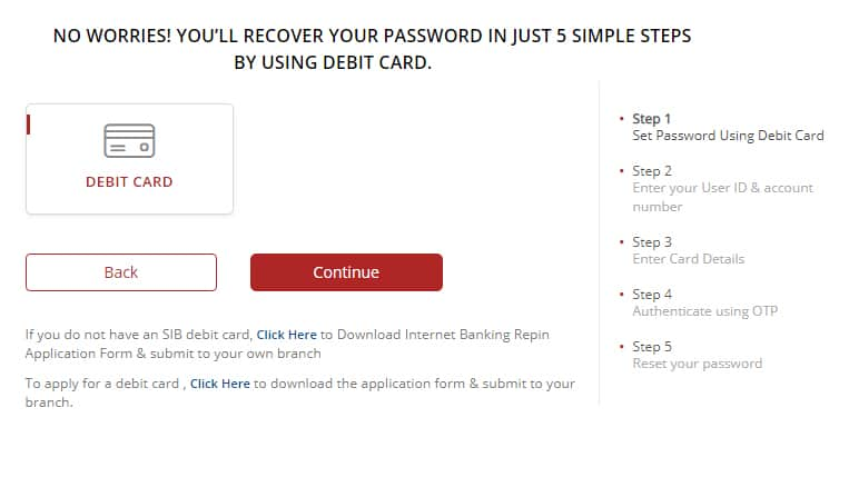 South Indian Bank Reset Net Banking Password