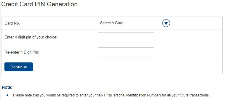 HDFC Credit Card Change PIN Online