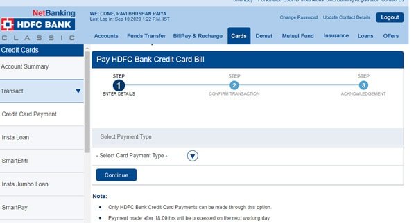 HDFC Credit Card Payment with Net Banking