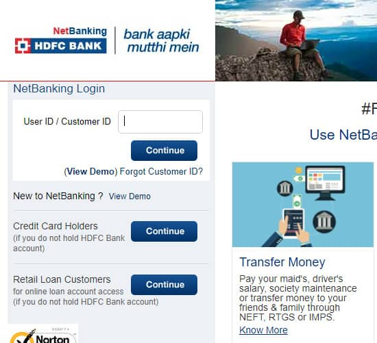 HDFC Net Banking Login